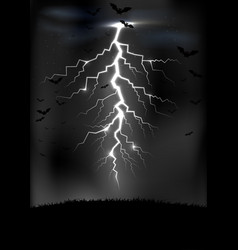lightning storm background with a bats vector image
