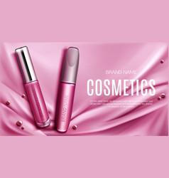 Lip gloss and mascara tubes mockup promo banner vector