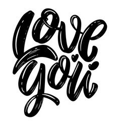 love you lettering phrase on white background vector image
