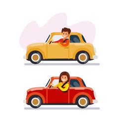 man and woman driving cars vector image