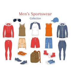 Men s fashion set clothes and accessories vector