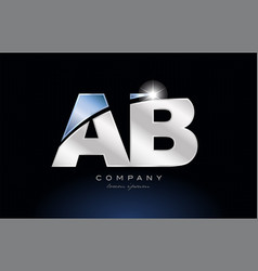 Metal blue alphabet letter ab a b logo company vector