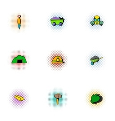 Mining activities icons set pop-art style vector
