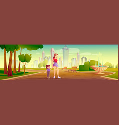 Mother and little daughter walk in city park vector