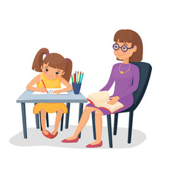 Mother helping her daughter with homework girl vector