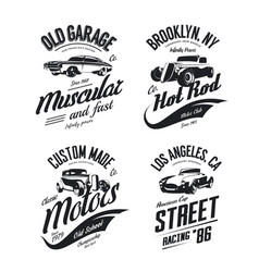 Muscle car tee-shirt logo isolated set vector