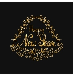 New year golden lettering design typographic vector
