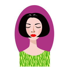 Pleased woman with her eyes closed and bob haircut vector