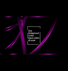 purple ribbon wave on a black background layout vector image