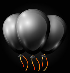 Realistic black balloons with ribbon isolated vector