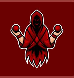 reaper mascot logo with ball at hand vector image