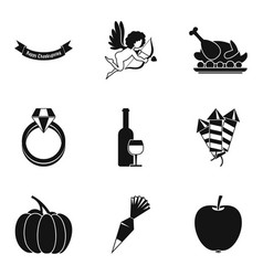 Relationship icons set simple style vector