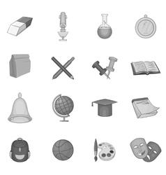 School icons set black monochrome style vector image vector image