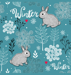 Seamless winter pattern of frozen forest and small vector