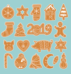 set gingerbread cookies stickers vector image