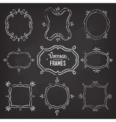 Set of 9 cute vintage chalk frames vector