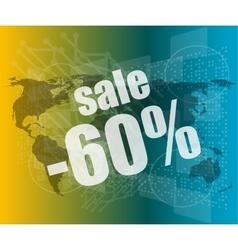 Set of sale percentage words on business digital vector