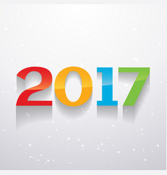 shiny colorful 2017 text design in colorful style vector image