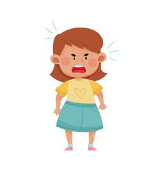 Short haired girl in blue skirt screaming with vector