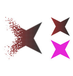 Shredded dot halftone sparkle star icon vector