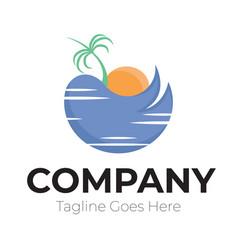 Simple logo beautiful scenery on beach vector