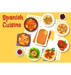 Spanish seafood and meat dishes icon vector