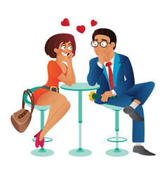 speed dating romantic love event in cafe - young vector image