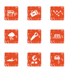 Structural data icons set grunge style vector