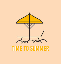 summer concept linear design with beach vector image