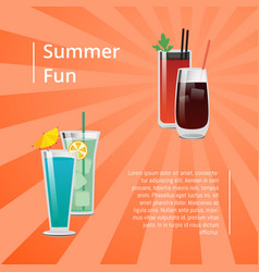 Summer fun poster with bloody mary cocktail vector