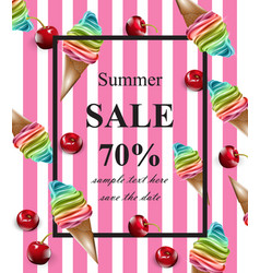 summer sale card ice cream pink banner vector image