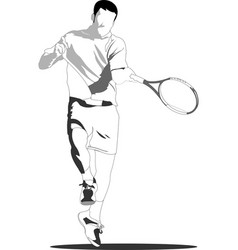 Tennis player black-white sketch for designers vector