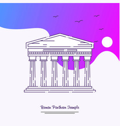 Travel roman pantheon teemple poster template vector