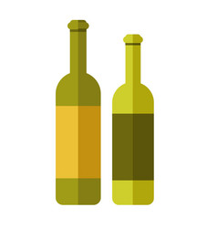 Two green wine bottles vector