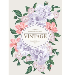 Vintage greeting card with colorful flowers vector image