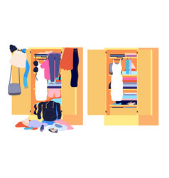 Wardrobe mess messy cloth before after home vector