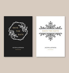 wedding invitation card template thin line vector image
