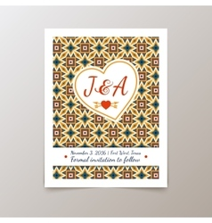 Wedding invitation card with geometric vintage vector
