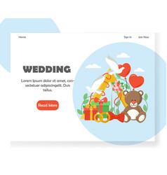 wedding website landing page design vector image