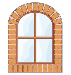 Wooden window on brick wall vector