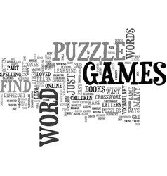 Word puzzle games text word cloud concept vector
