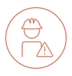 Worker with caution sign line icon vector