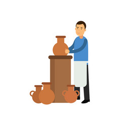 Young man potter in apron making ceramic pot vector