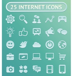 25 internet icons vector image vector image