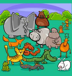 cartoon wild animal characters group vector image vector image