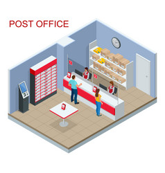isometric post office concept young man and woman vector image