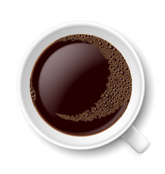 mug of coffee top view on white background vector image vector image