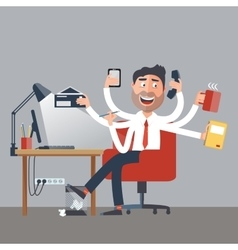 Multitasking Business Man at Work vector image