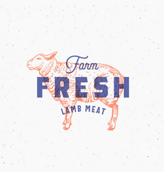 retro print effect farm fresh lamb meat abstract vector image