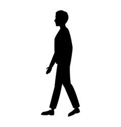 Silhouette man walking side view vector